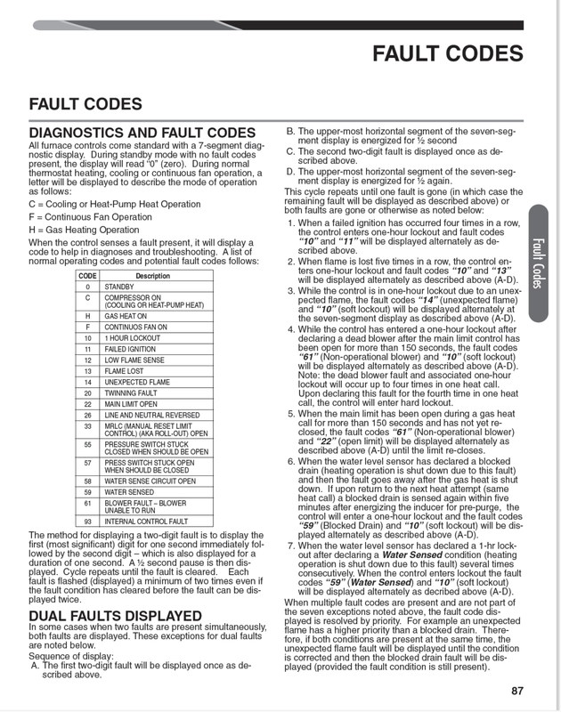 gas furnace fault or error codes for common furnaces
